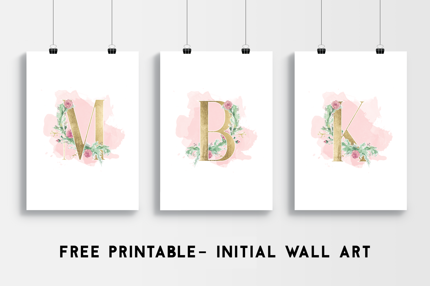 Freebie- Floral posters with golden initials